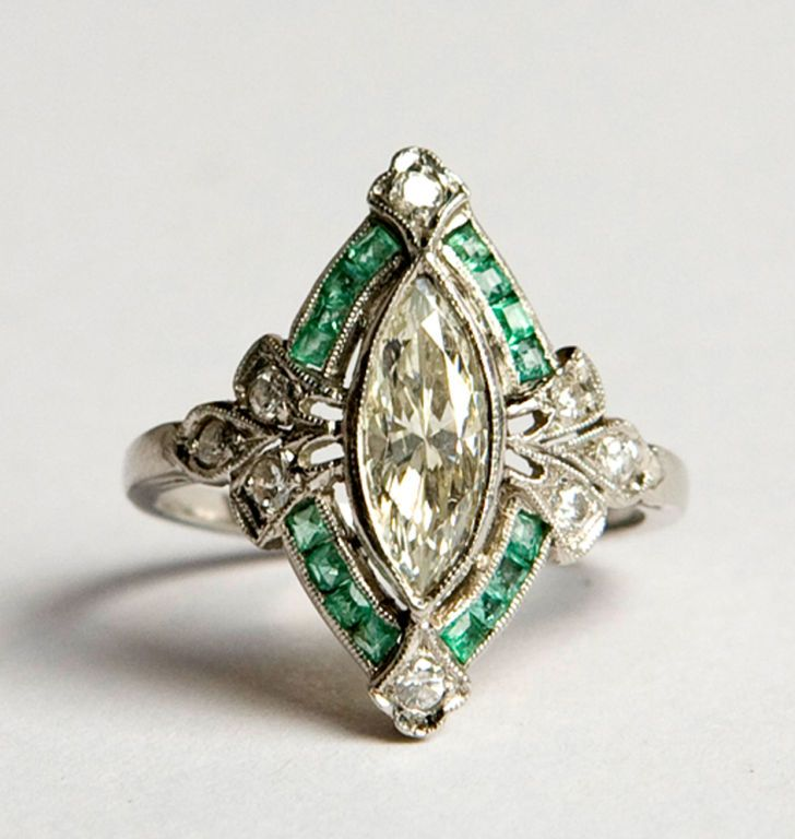 French 1930's art deco diamond and emerald ring