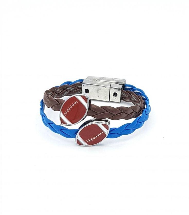 Bracelet Garçon fantaisie, tressé, ballon de rugby, fermoir magnétique