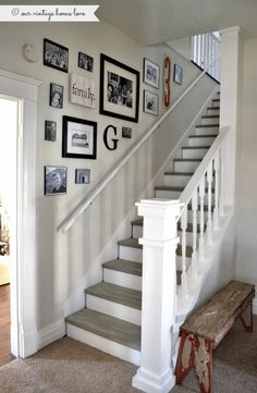 Stairway renovation ~ cut out wall and add spindles/rail, paint steps with chalk paint.