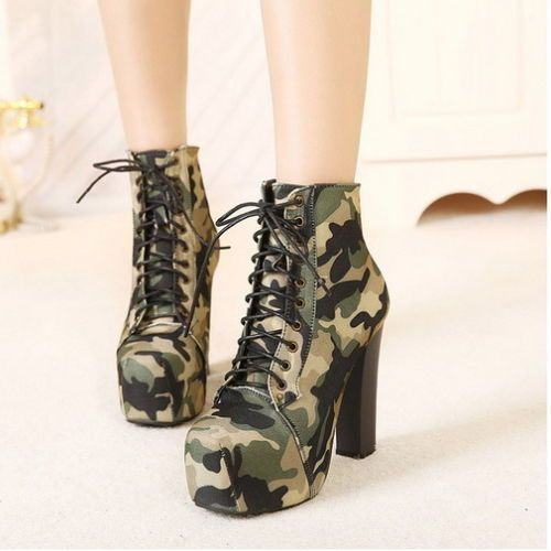 Lady-Camo-Military-Lace-Up-Chunky-High-Heel-Platform-Ankle-Bootie-Boot-Pump-7-5
