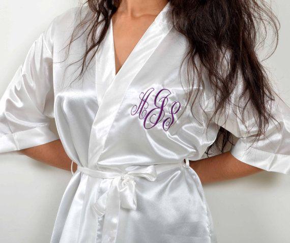 Satin silk bridesmaid robe. Satin robe. Robe for brides. Satin