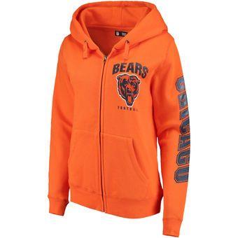 Women's Chicago Bears New Era Orange Playbook Glitter Sleeve Full-Zip Hoodie