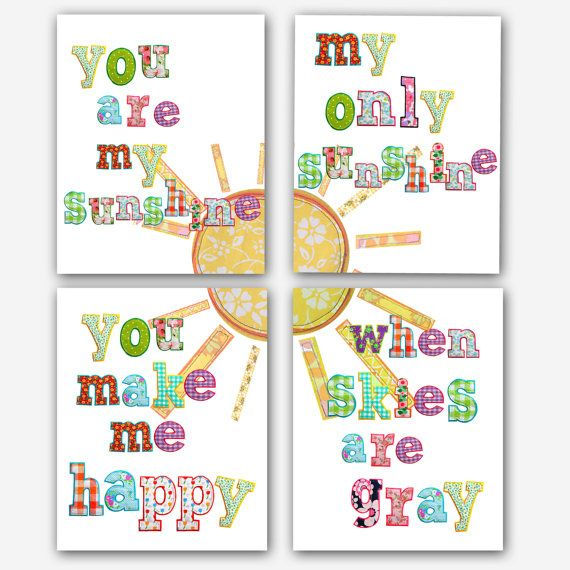 I sing this to my kids every night before bed... Except I have my own version... You are my sunshine my baby girl sunshine you make me happy when skies are gray