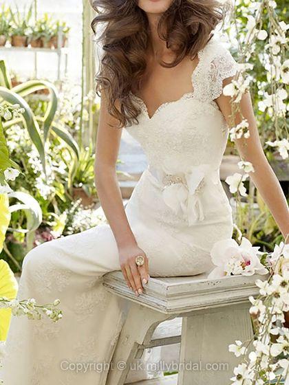 Sheath/Column V-neck Lace Satin Sweep Train White Flowers Wedding Dresses -USD$309.22