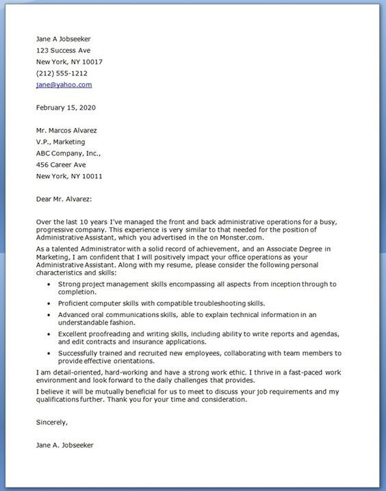 Best Cover Letter Samples Images On   Administrative