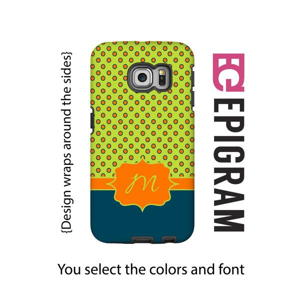 Monogram Samsung Galxy S6 Edge case lime and by EpigramCases