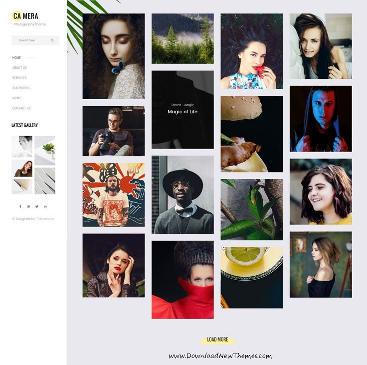 Camera is clean and modern pixel-perfect design PSD template for photographers and portfolio showcase website with 34 layered PSD pages in light and dark versions to live preview & download click on Visit 👆 #photographysouls #webdesign