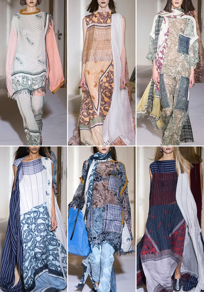 Patternbank loved Acne Studios Nomadic Tribe of travellers floating down the catwalk in array of fabrics, fused together to create an oversized elegance of scarves, kaftans and rugs for SS17.