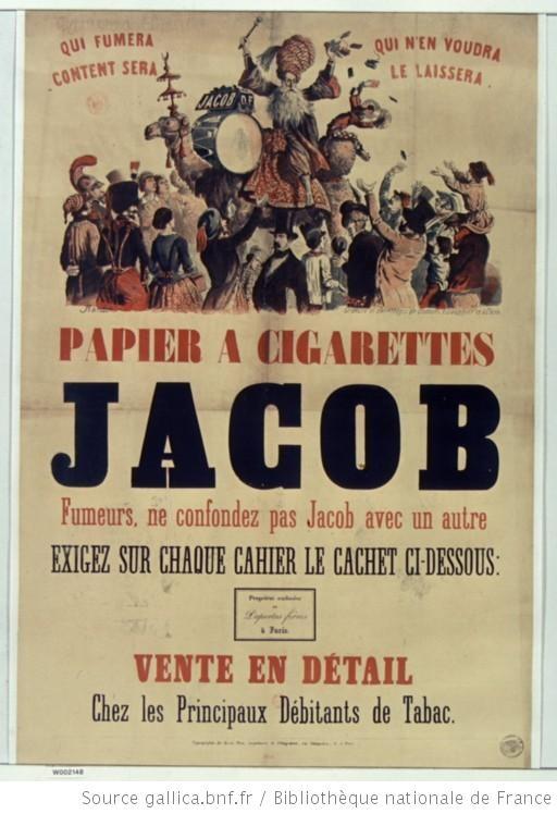 Papier à cigarettes Jacob, 1855.