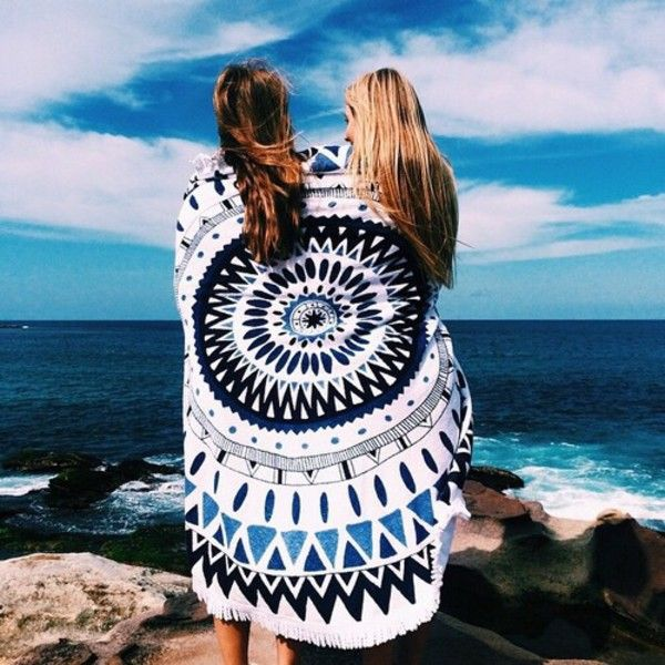 Obsessed with round beach towels and love that this one has Santorini blue in it | The Beach People Majorelle Round Beach Towel | $110