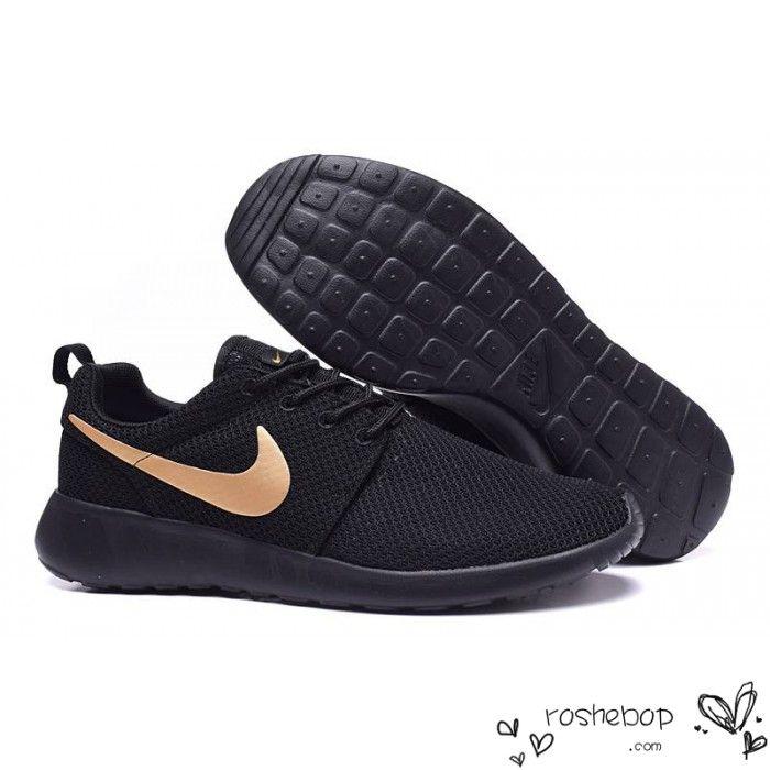 Nike Roshe Run Black Gold Womens Mens - Nike Roshe Run