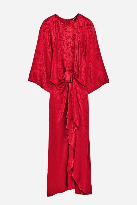 Shades of red prevailed on the autumn/winter 17 catwalks, so treat yourself to Zara's crimson jacquard midi dress - a great day-to-night option - and team with a pair of ankle boots.  Jacquard dress, £59.99, Zara