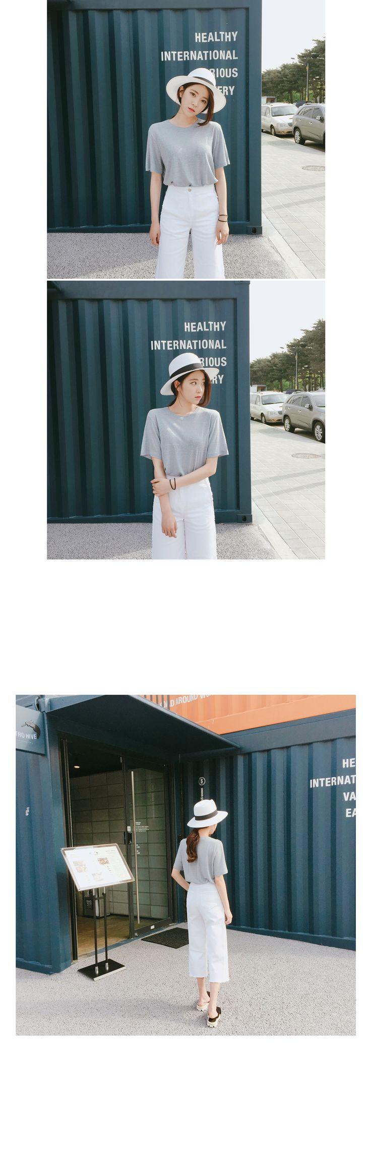 サイドスリットリネンTシャツ - flymodel - Side Slit Linen T-Shirt