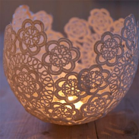This one would let us use paper or fabric and modpodge. Lots easier than another one that looks the same mod podge candle holder