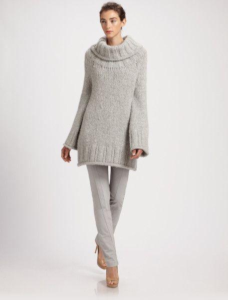Donna Karan New York Gray Handknit Wool Tunic Sweater