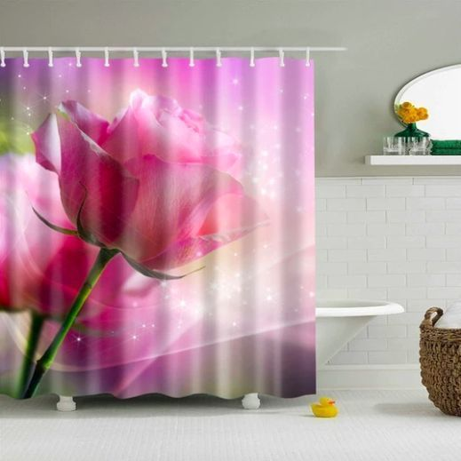 Enchanted Rose Fabric Shower Curtain Contemporary Country