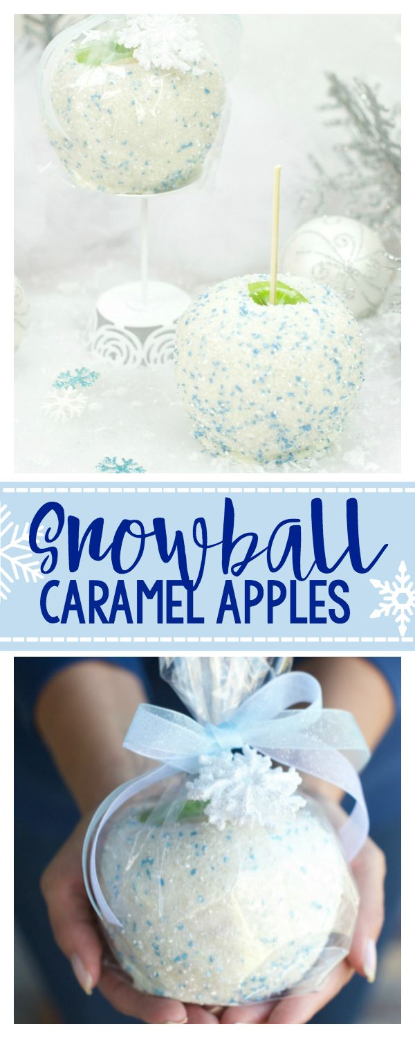 Wow these winter themed caramel apples look so good! What an awesome food Christmas gift idea! Snowball Caramel Apples.