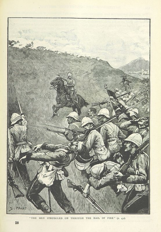 Page  461 of 'Illustrated Battles of the Nineteenth Century. [By Archibald Forbes, Major Arthur Griffiths, and others.]' Unfortunately the web site does not say when, where , who or why. I guess this to be an incident in the First Boer War 1880.