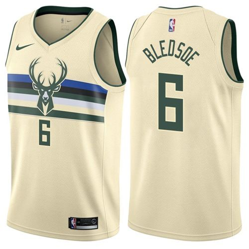 862a65a486b Nike Bucks  6 Eric Bledsoe Cream NBA Swingman City Edition Jersey ...