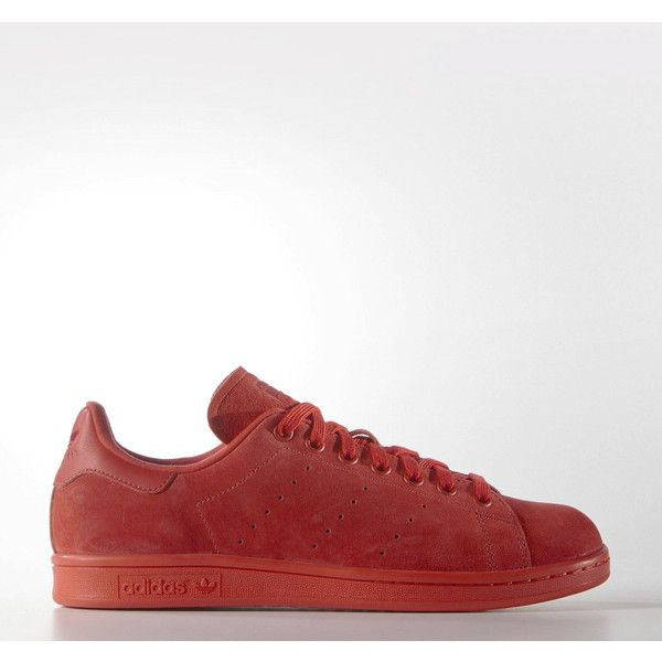 adidas Originals Adidas Stan Smith - Red/Poppy/University Red (£72) ❤ liked on Polyvore featuring men's fashion, men's shoes and red