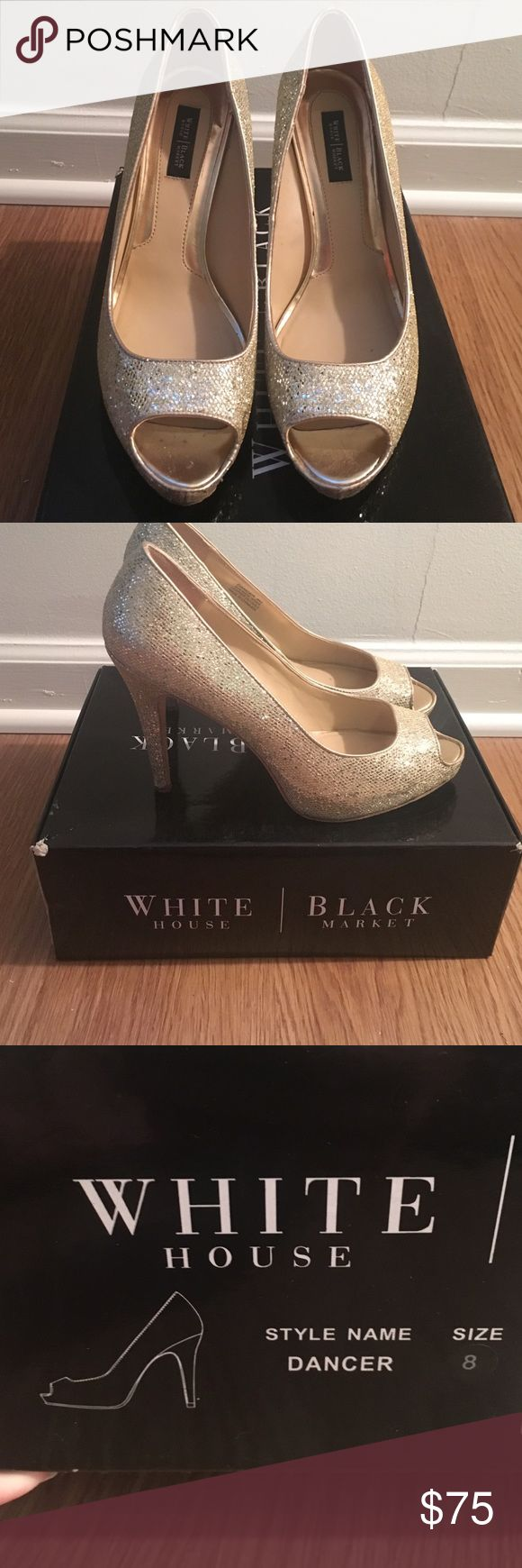 White House Black Market Gold Peep Toe Heels Gold sparkle peep toe heel. Dancer style size 8. White House Black Market Shoes Heels