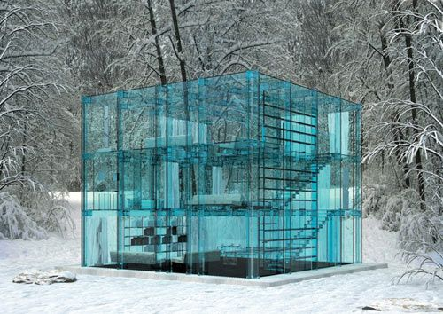 Could you imagine living in a real glass house? Created as a concept to showcase Italian company Santambrogio's glass furniture line, this set of two concept homes would be made from blue-ish glass. From the mind of architect Carlo Santambrogio and designer Enno Arosic, you could actually own one of these if you so desired…