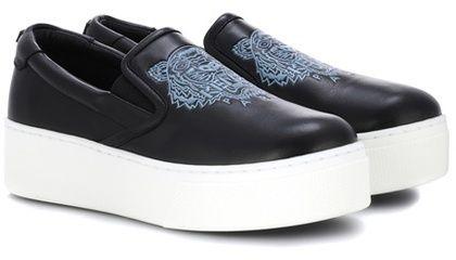 Kenzo Slip-on plateau leather sneakers