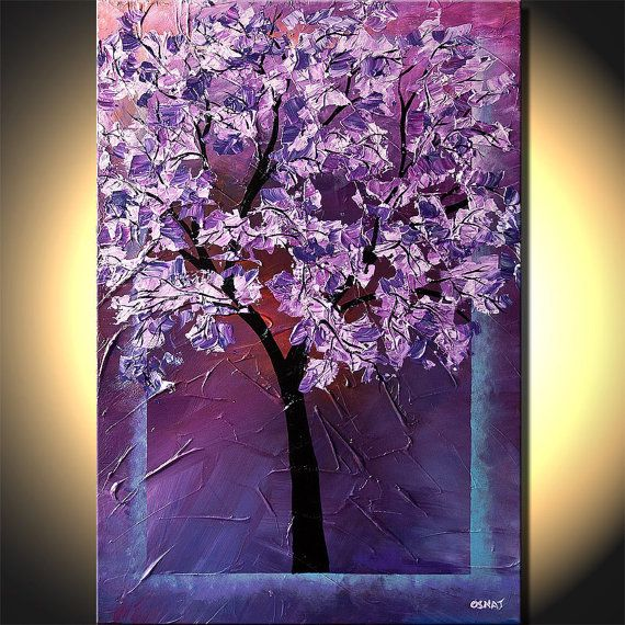 Purple Lavender Blossom Tree Painting Texture by OsnatFineArt