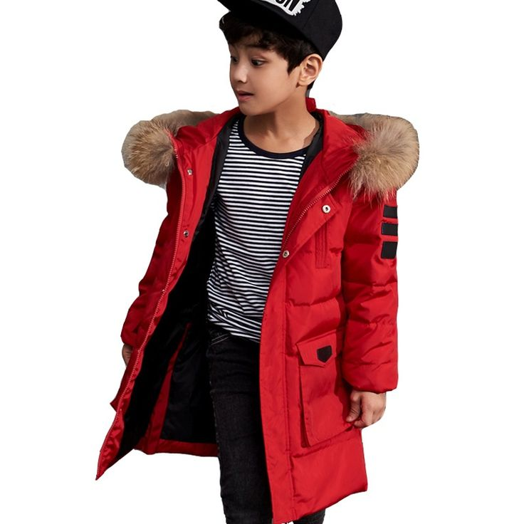Boys Winter Jackets Fur Hooded Teenage Boys Winter Coats Children Duck Down Jackets Kids Outerwear for Age 8 9 10 12 14 15 Year