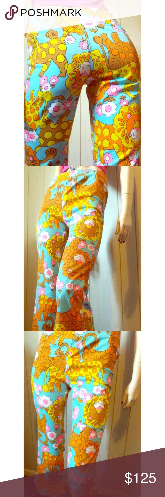 """VTG MOD King of the Jungle Lion Print Kitty Pants Wow! Vintage 60s MOD jungle/lion flower-power print cropped cotton pants. Adorable lion print is ultra bright in BOLD colors. Pocketless w/back zip. Formfitted at hip & thigh, flairy bell bottom cropped legs. Fierce & Fabulous is putting it mildly.  DETAILS:No stretch to fabric SZ:N/A Fit like a Ladies XS Waist:27-28"""" Hips:up to approx 34-35"""" Length:Inseam is 24"""", total length 34"""" w/1.5"""" hem can be let down if needed.  Rise:10"""" Label:N/A…"""