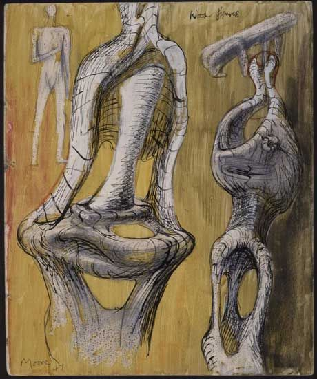 Henry Moore - Drawing for Wood Sculpture, c. 1947