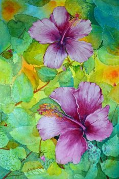 In this floral watercolor, violet colored hibiscus are complimented by a…
