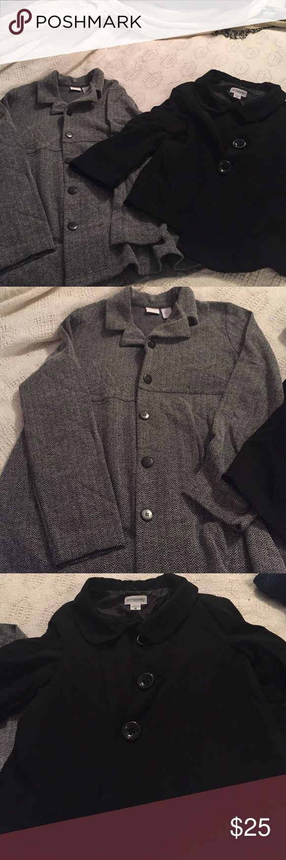 Maternity Work Blazers Two blazer style tops perfect for the office. The gray is nice and long to cover the belly, In Due Time Maternity. The black is shorter but open to give the belly plenty of room, Motherhood. Both size S. Jackets & Coats Blazers