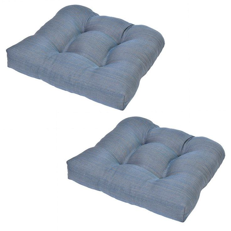Plantation Patterns Patio Furniture #21: Plantation Patterns 2-pack Outdoor Tufted Seat Pad Cushion, Blue