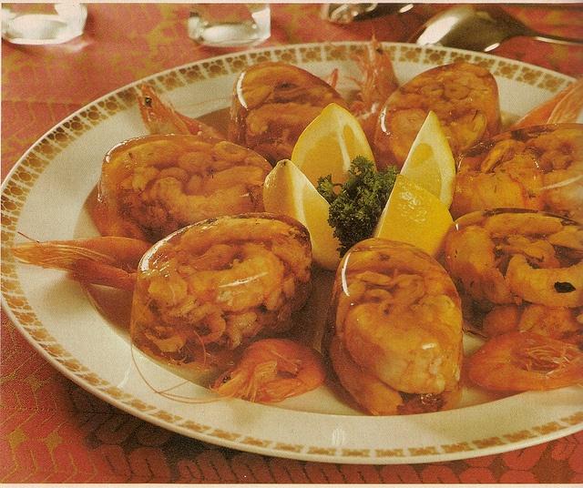 Shrimp in Jello... Not just plain shrimp. Shrimp with the legs still attached.