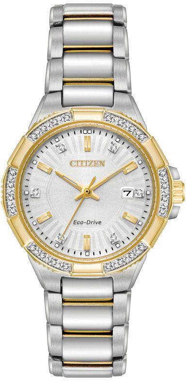 Zales Ladies' Citizen Eco-Drive® Riva Diamond Accent Two-Tone Watch with Silver-Tone Dial (Model: EW2464-55A)