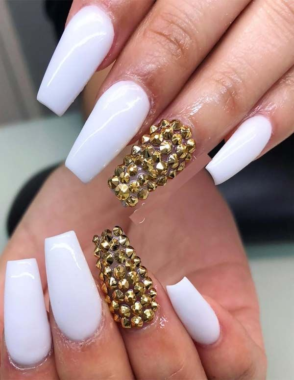 Super White Acrylic Nail Designs for Ladies in 2019