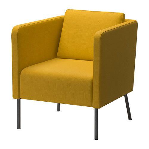 IKEA - EKERÖ, Fauteuil, Skiftebo geel, , Het keerbare rugkussen geeft een zachte ondersteuning van de rug en is bovendien aan beide kanten te gebruiken.Het losse kussen is verplaatsbaar, zodat je het kan aanpassen aan je eigen zitstijl.