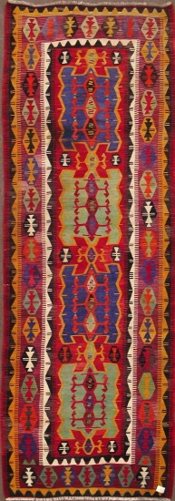 "Obruk kilim runner, all wool, 4'5""x12'4"", approx. 60 years old"