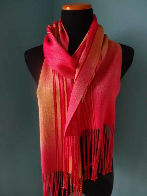 Coral Hand Dyed Silk Scarf   – weaving