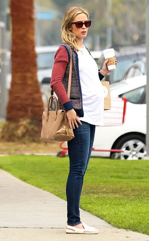 button down and jeans, maternity style