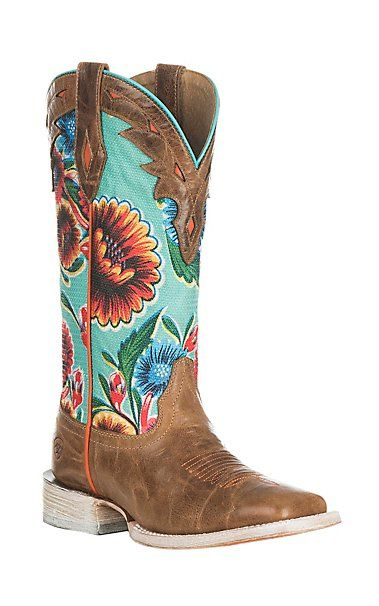 Ariat Women's Circuit Champion Dusty Brown with Turquoise Floral Print Western Square Toe Boots   Cavender's
