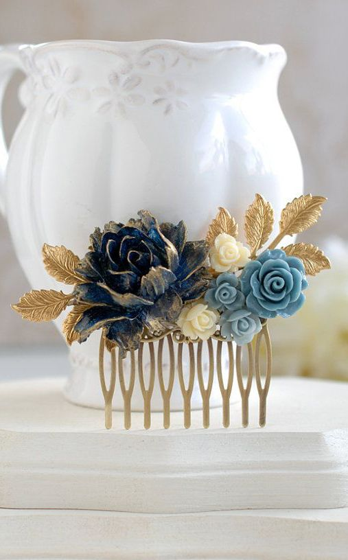 Dark Blue Flower Hair Comb Gold Dark Blue Dusky Blue