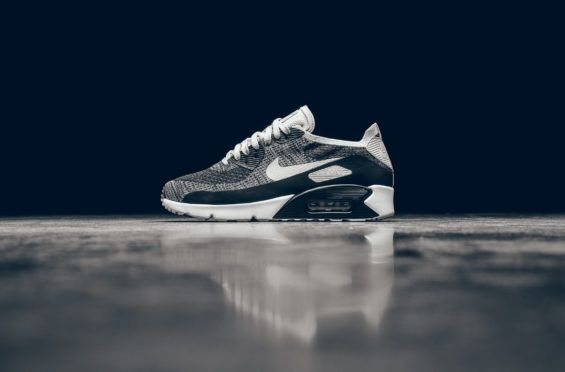 240da9f62ff5 The Nike Air Max 90 Ultra 2.0 Flyknit Just Released In Black And Wolf Grey