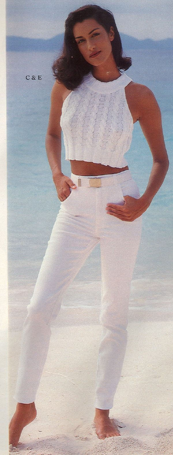 Victoria's Secret Catalog Spring 1996 page featuring Yasmeen Ghauri as model. Yasmeen became a Victoria's Secret model in 1992, and walked the 1996 annual Victoria's Secret Fashion Show.