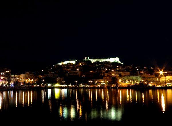 Night lights in Kavala, northern Greece