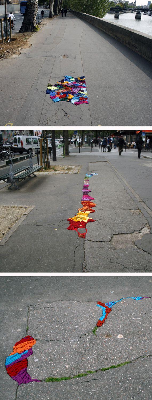 Knit sidewalk cracks in Paris, France @Craftsy