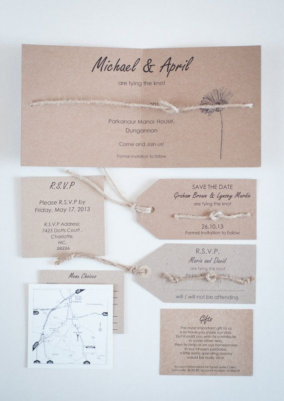 Tie the Knot Wedding Invitation by TeaandDoiliesonline on Etsy