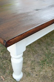 Repurposed table turned two-toned beauty. Lovely!