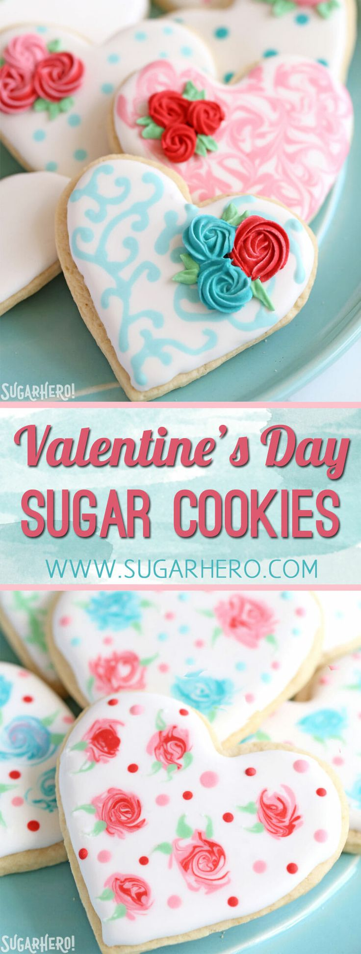 These classic sugar cookies are decorated with royal icing in a variety of beautiful Valentine's Day designs. From SugarHero.com
